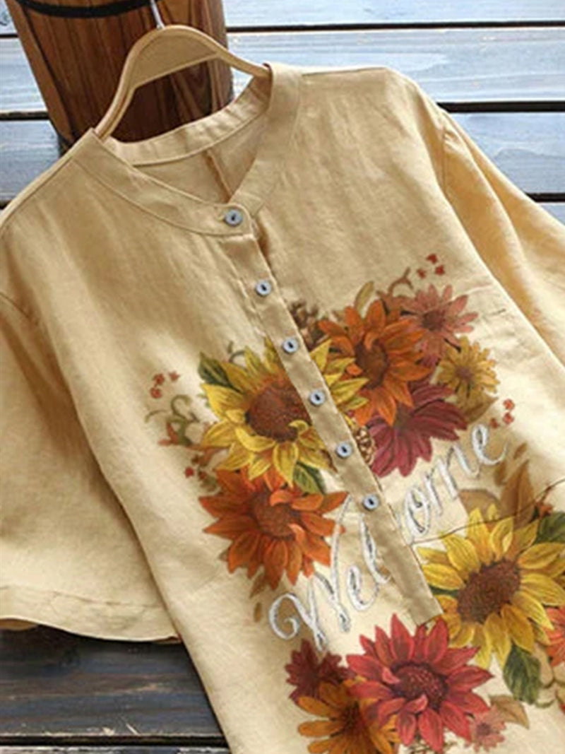 Yellow Casual Cotton-Blend Floral Shirts & Tops