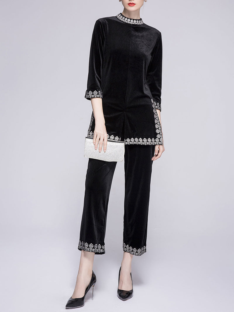 Paneled Shift Elegant Top with Pants Set