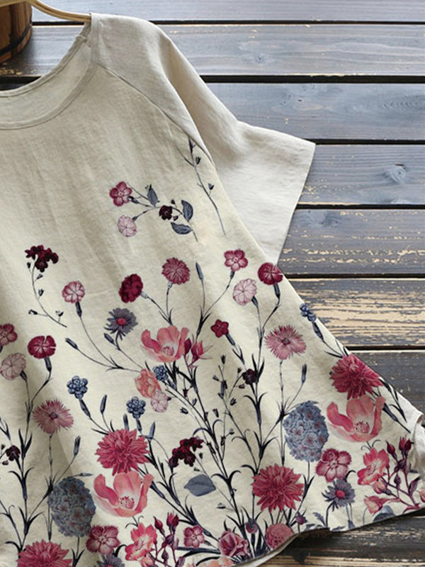Khaki Pastoral Floral Cotton-Blend Shirts & Tops