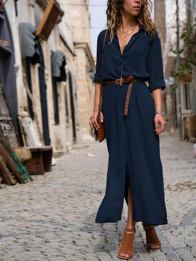 Shirt Collar Daily Boho Dresses