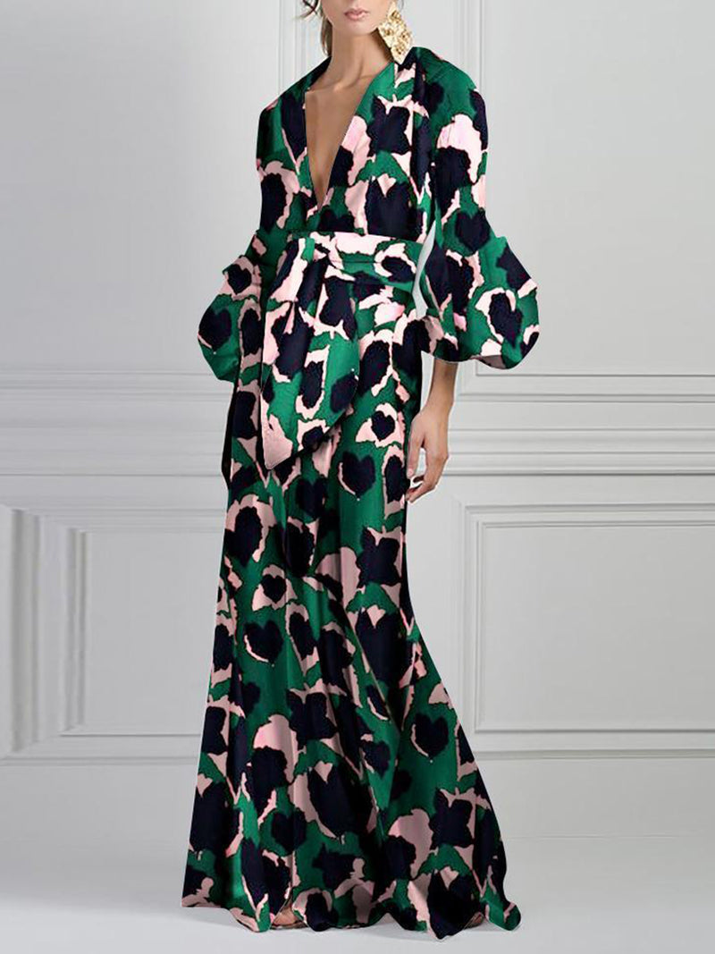 Deep V-Neck Green Summer Holiday Elegant Paneled Maxi Dress