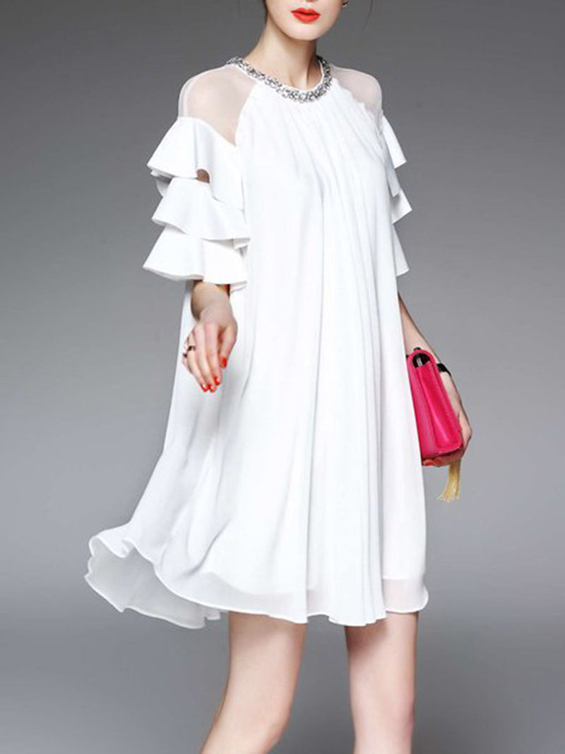 White Half Sleeve Casual Ruffled Statement Mini Dress