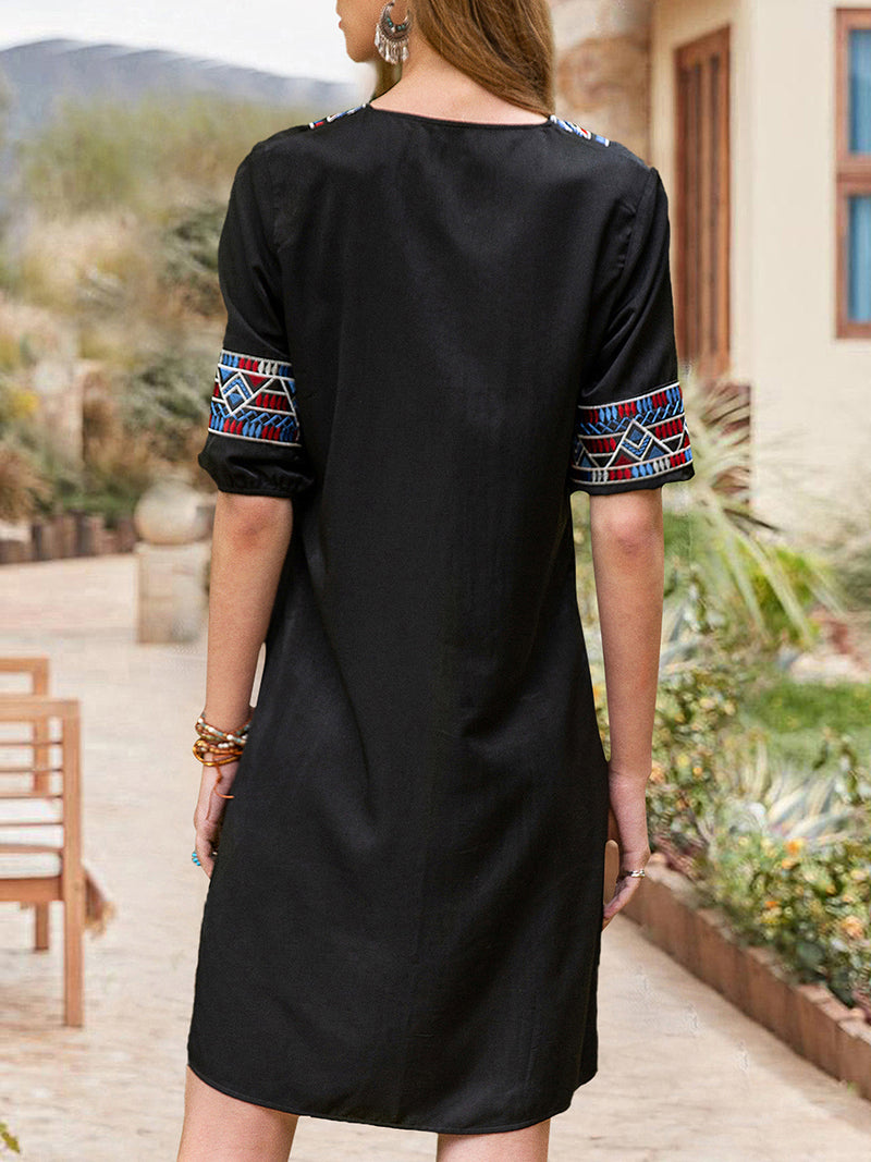 Women Tribal Notch Neckline Half Sleeve Cotton-Blend Dresses