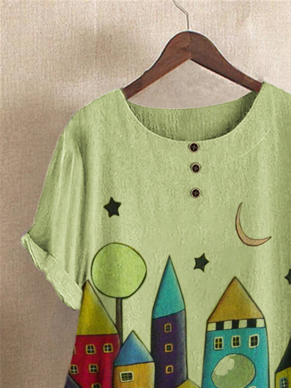 Green Cotton-Blend Vintage Shirts & Tops
