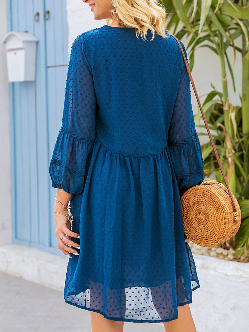Purplish Blue Balloon Sleeve Shift Dresses