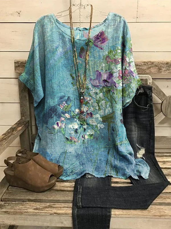 Floral-Print Casual Crew Neck Shirts & Tops