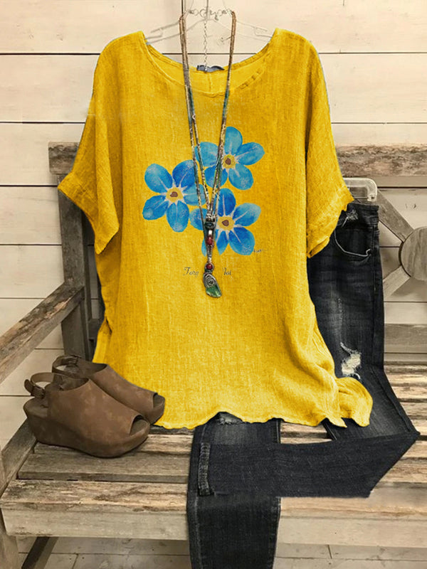 Yellow Holiday Floral Short Sleeve Shirts & Tops