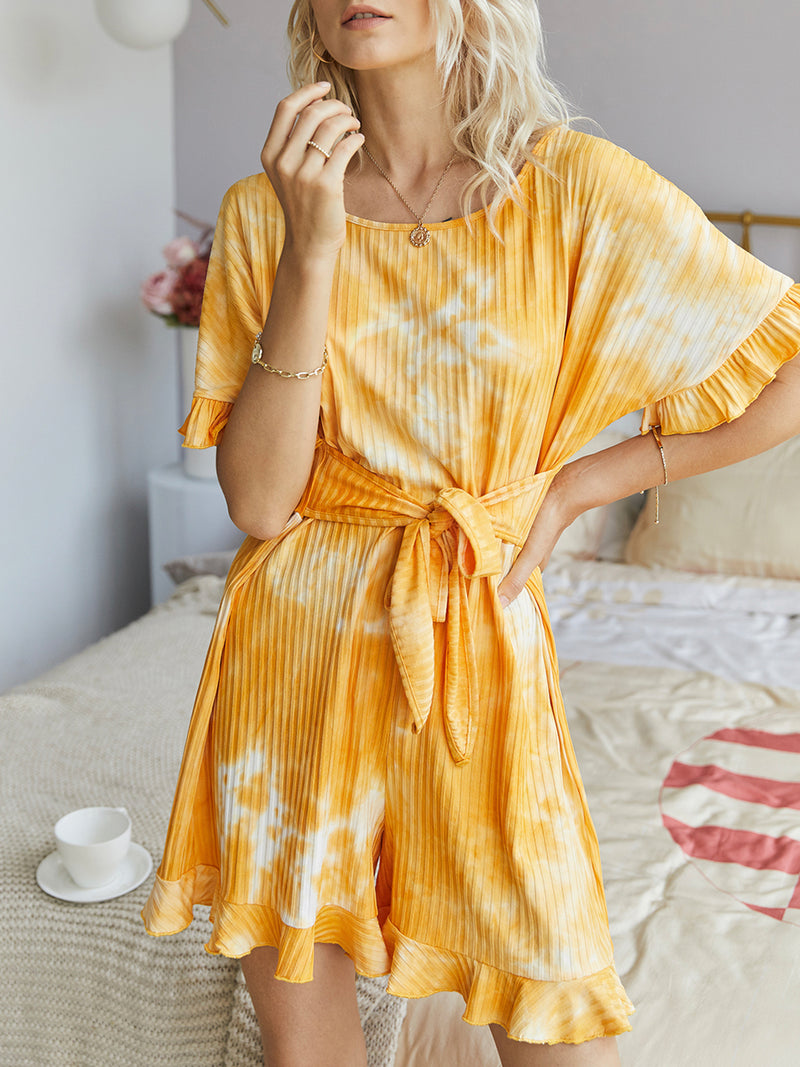 Yellow Casual Short Sleeve Crew Neck One-Pieces Romper
