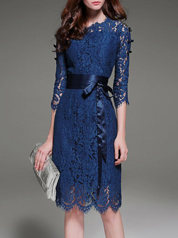 Blue Party 3/4 Sleeve Elegant  Solid Midi Dress