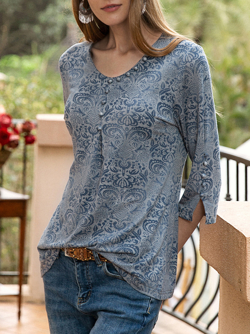 Women Basic V Neck Slit Floral Exotic Top