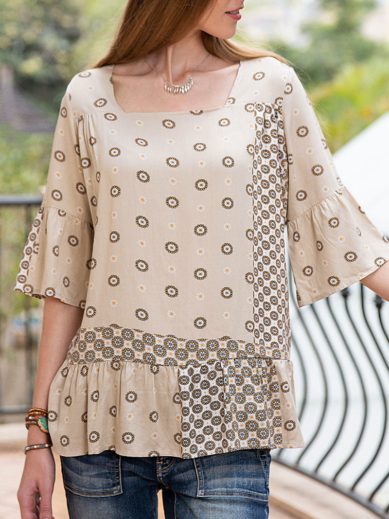 Women Cotton Floral Frill Sleeve Ruffled Top