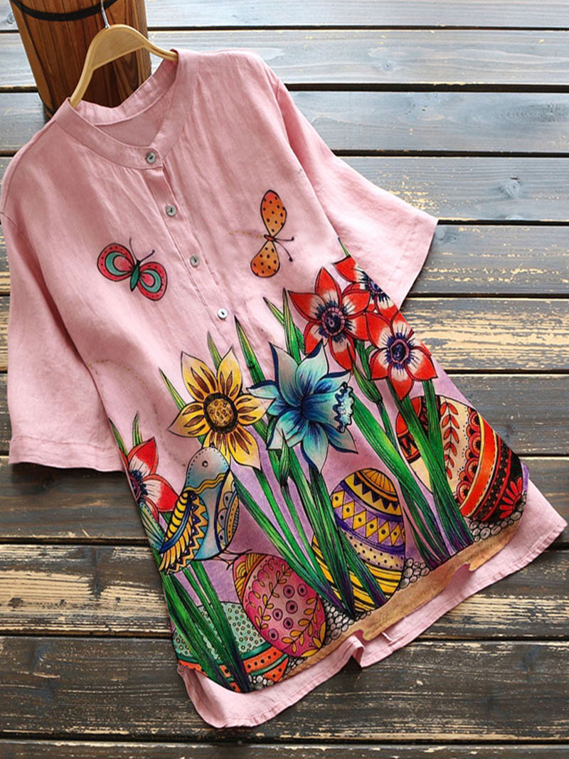 Pink Cotton-Blend Pastoral Floral Shirts & Tops