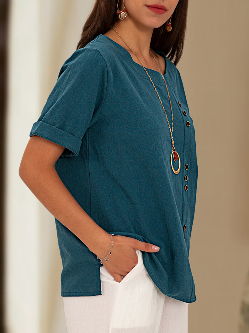 Blue Casual Short Sleeve Solid Top