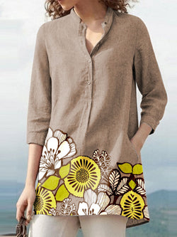 Khaki Floral Cotton-Blend Holiday Shirts & Tops