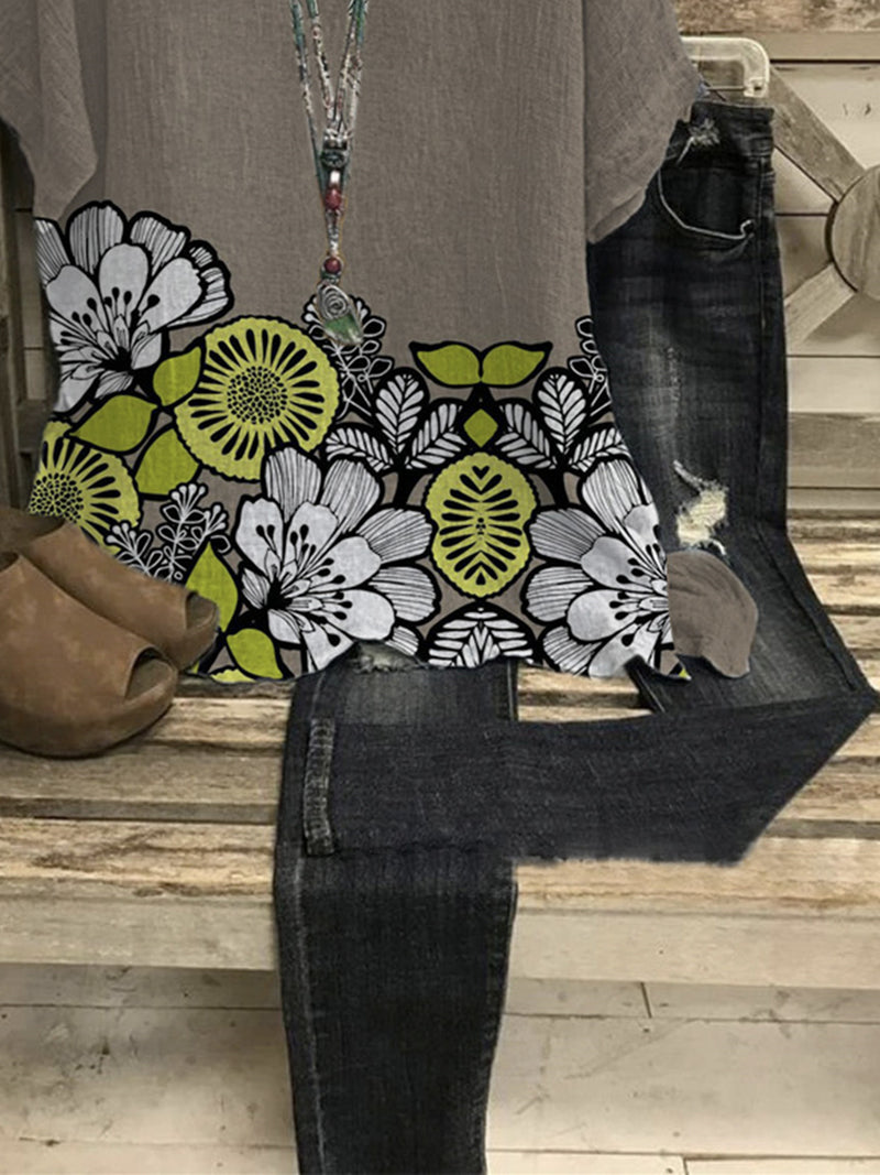 Gray Casual Floral Shirts & Tops