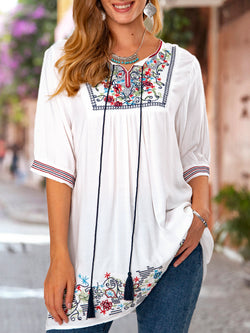 Short Sleeve Embroidered Shirts & Tops