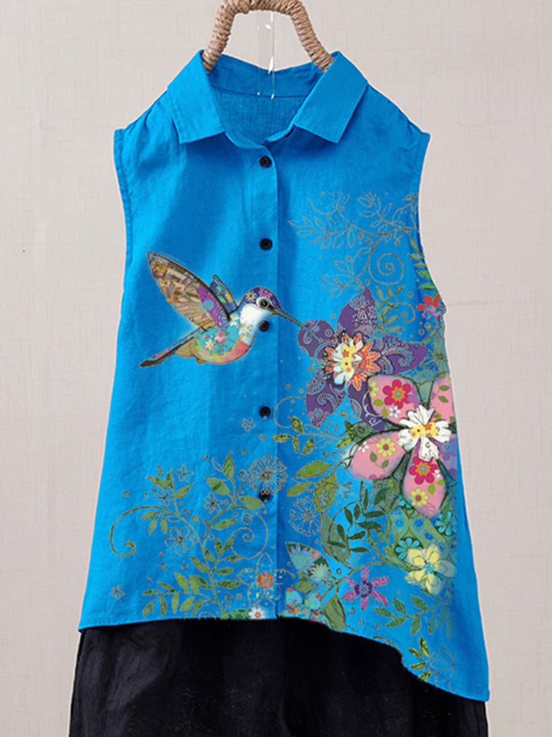 Blue Shirt Collar Floral Cotton-Blend Casual Shirts & Tops