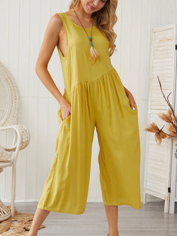 Casual Sleeveless Crew Neck One-Pieces Jumpsuit