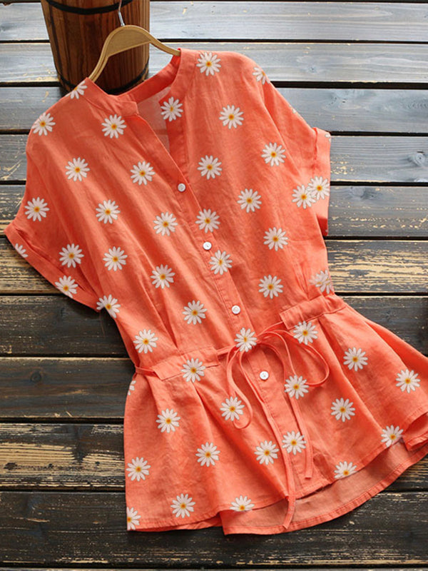 Orange Floral Cotton-Blend Short Sleeve Shirts & Tops