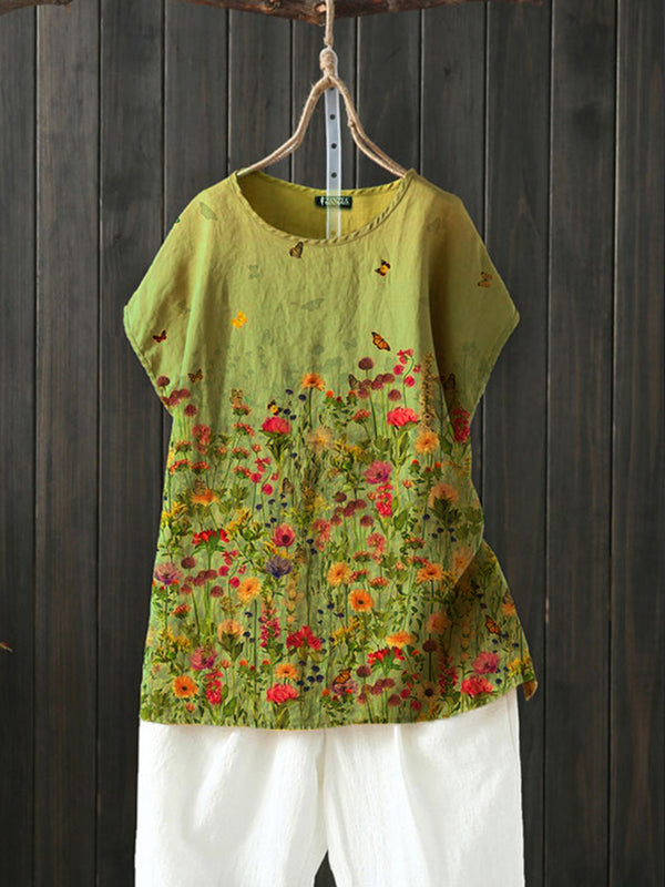 Flower Casual Cotton-Blend Floral Shirts & Tops
