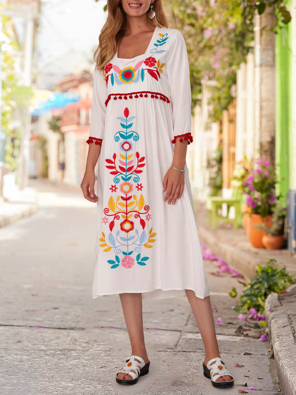 Half Sleeve Shift Vintage Embroidery Dresses