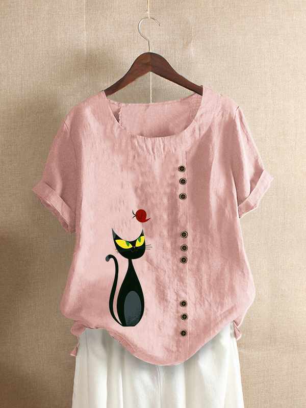 Casual Cats Print Short Sleeve Shirts & Tops