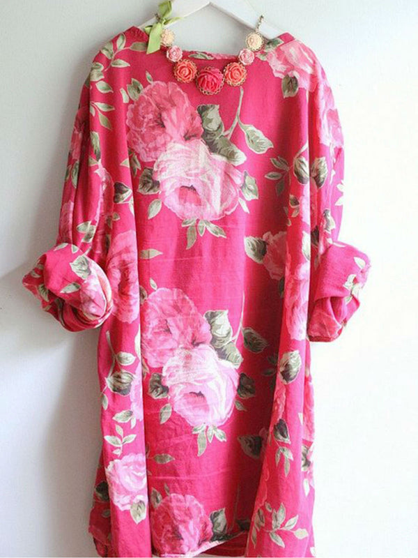Crew Neck Fuchsia Women Dresses Cotton-Blend Floral Dresses