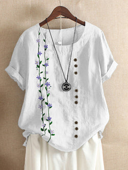 White Floral Cotton-Blend Holiday Shirts & Tops