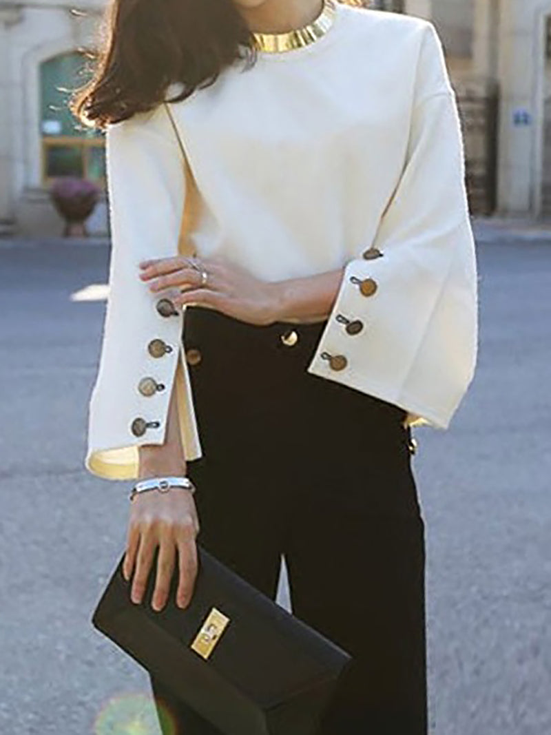 Beige Elegant Bell Sleeve Shift Crew Neck Tops