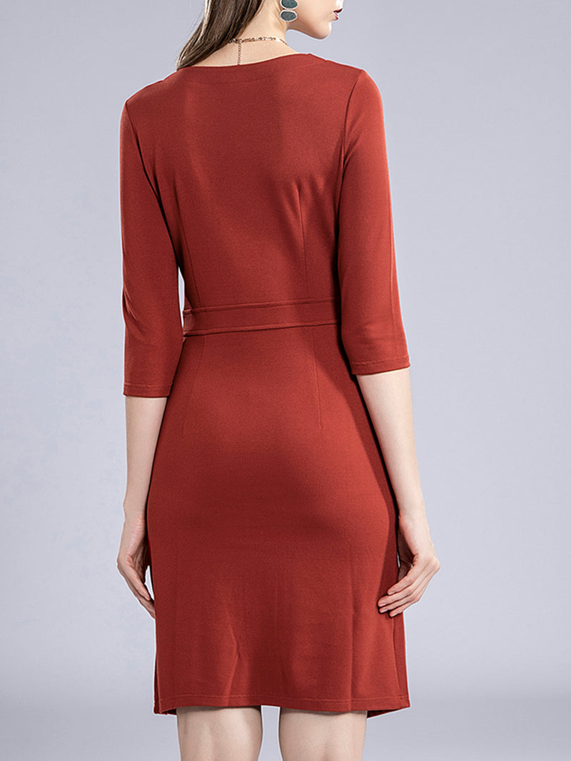 Bodycon Daily Solid Elegant Work Midi Dress