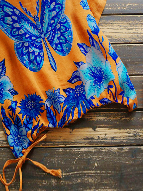 Orange Floral-Print Short Sleeve Shirts & Tops