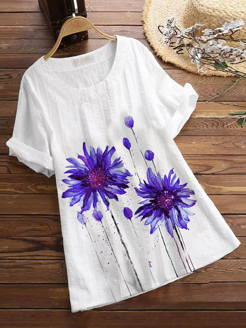 White Cotton-Blend Floral Casual Shirts & Tops