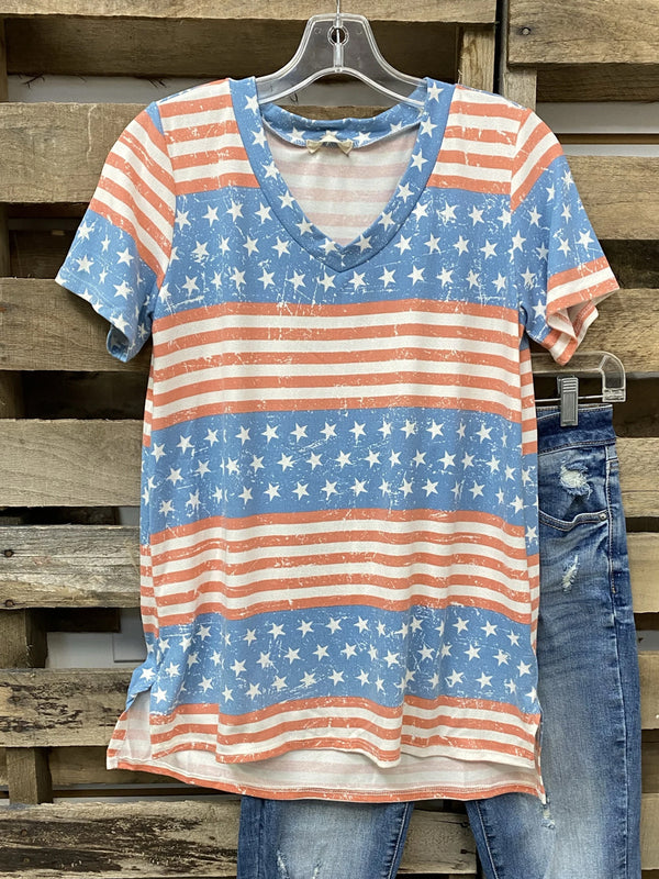 Blue Cotton-Blend Short Sleeve V Neck Shirt & Top