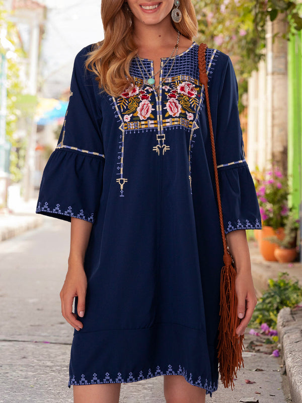 Royal Blue Short Sleeve Shift Ethnic Floral Dresses