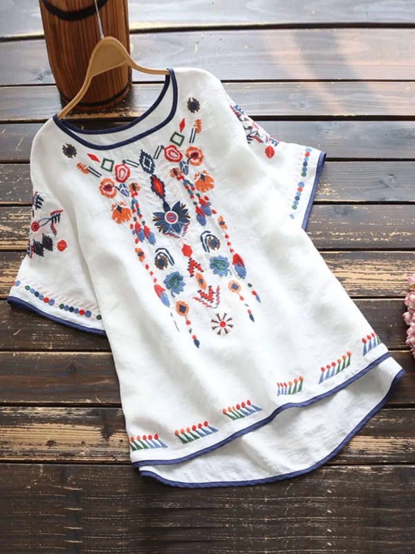 Vintage Short Sleeve Floral Embroidered Shirts & Tops