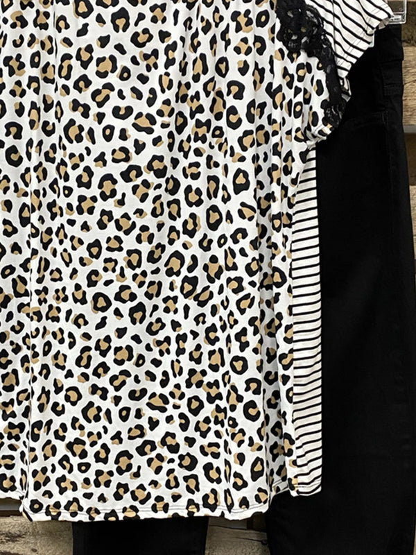 Leopard Print Crew Neck Short Sleeve Shirts & Tops