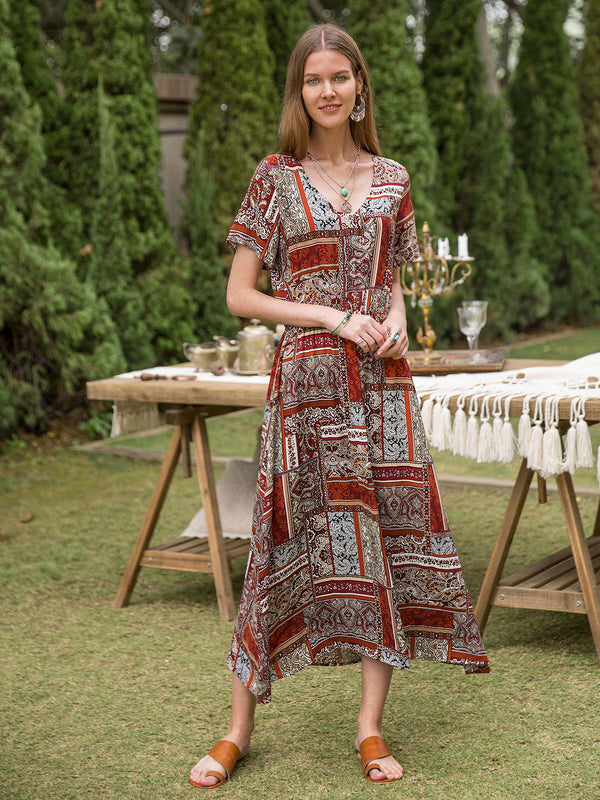 Women Cotton Tribal Short Sleeve Floral Dresses
