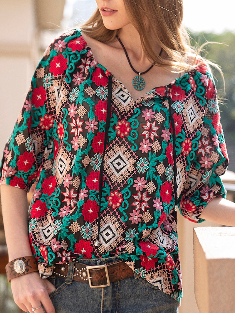 Women Embroidery Floral Chiffon Balloon Sleeve Blouse with Tasseled Ties