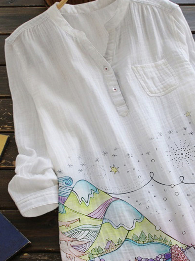White Casual Star Cotton-Blend Shirts & Tops