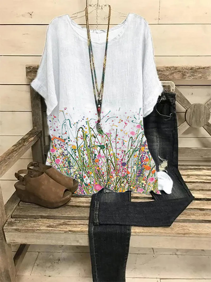Gray Crew Neck Casual Floral Linen Shirts & Tops