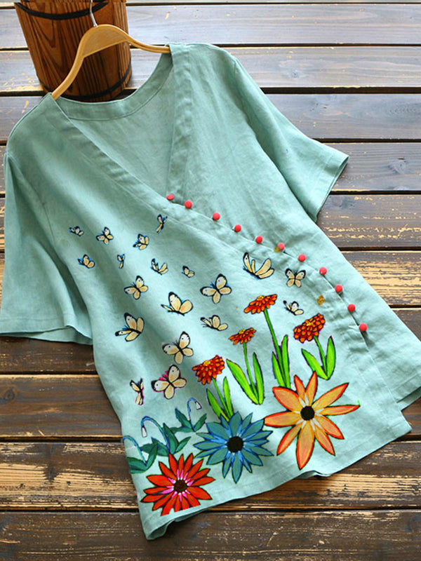 Green Floral Short Sleeve Cotton-Blend Shirts & Tops