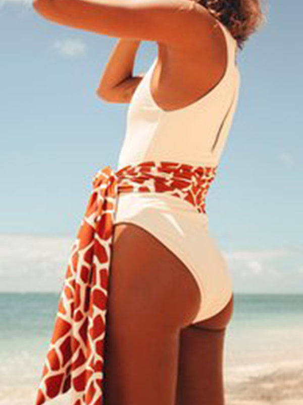 Crew Neck Zip Fastening Swimwear