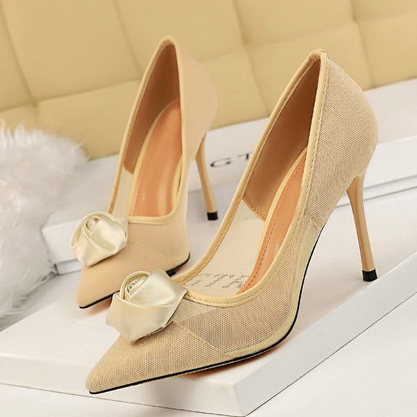 Mesh Stiletto Heel Date Pumps