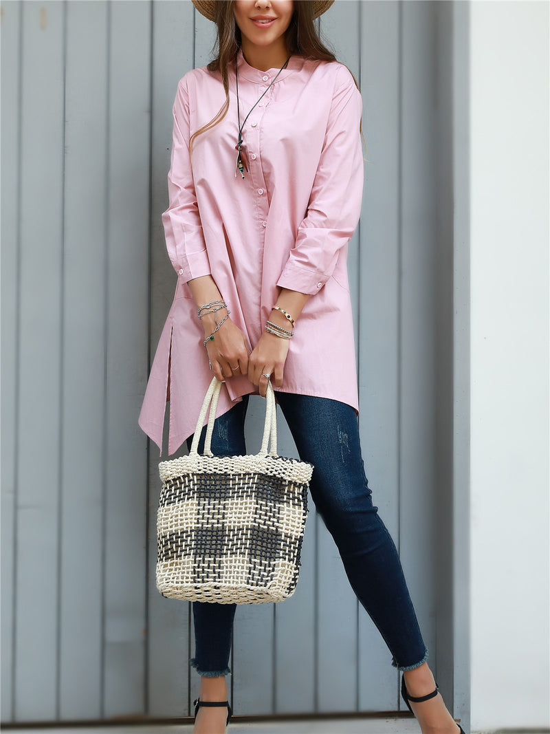 Pink Long Sleeve Cotton Casual Shirts & Tops