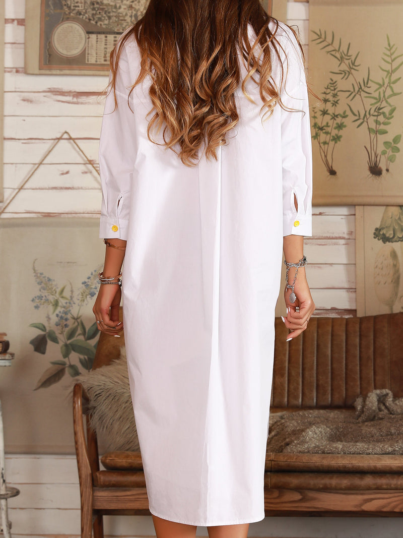 White Cotton Holiday Long Sleeve Shift Dresses