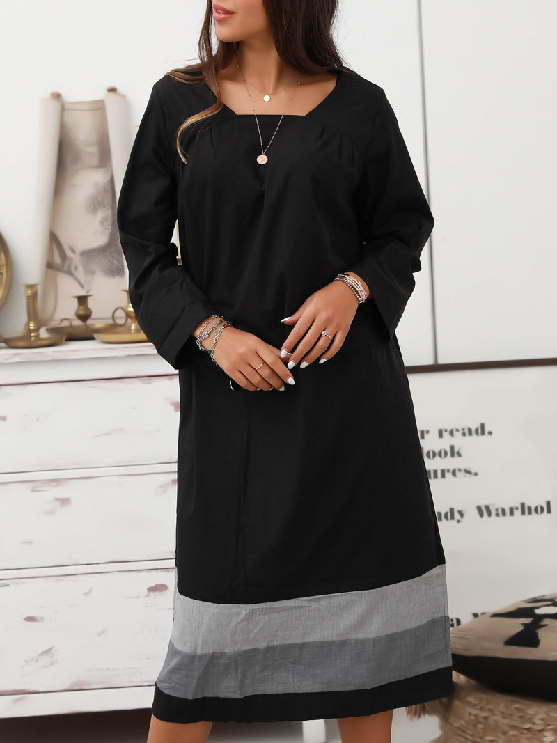Black Cotton Long Sleeve Dresses