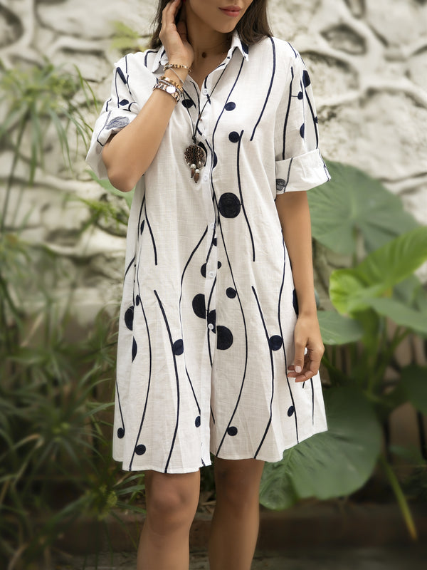 White Holiday Printed Shirt Collar Short Sleeve Dresses