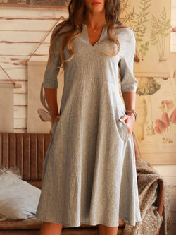 Light Gray V Neck Vintage Dresses
