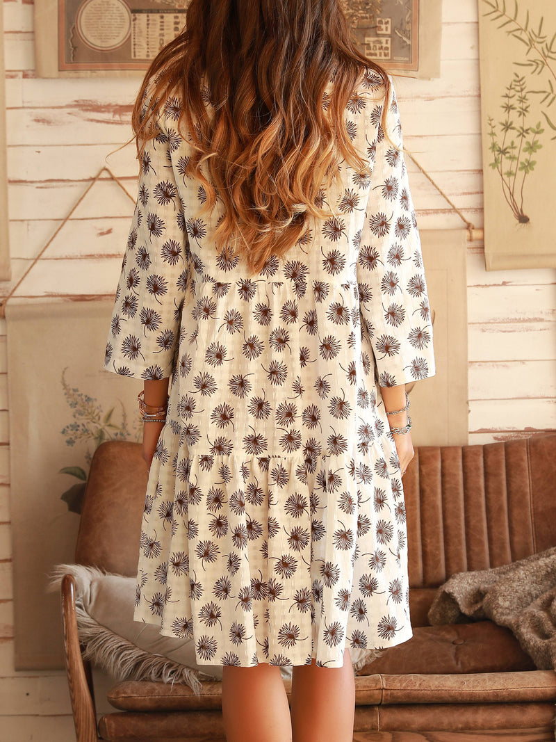Leaf Printing Cotton Long Sleeve Dresses