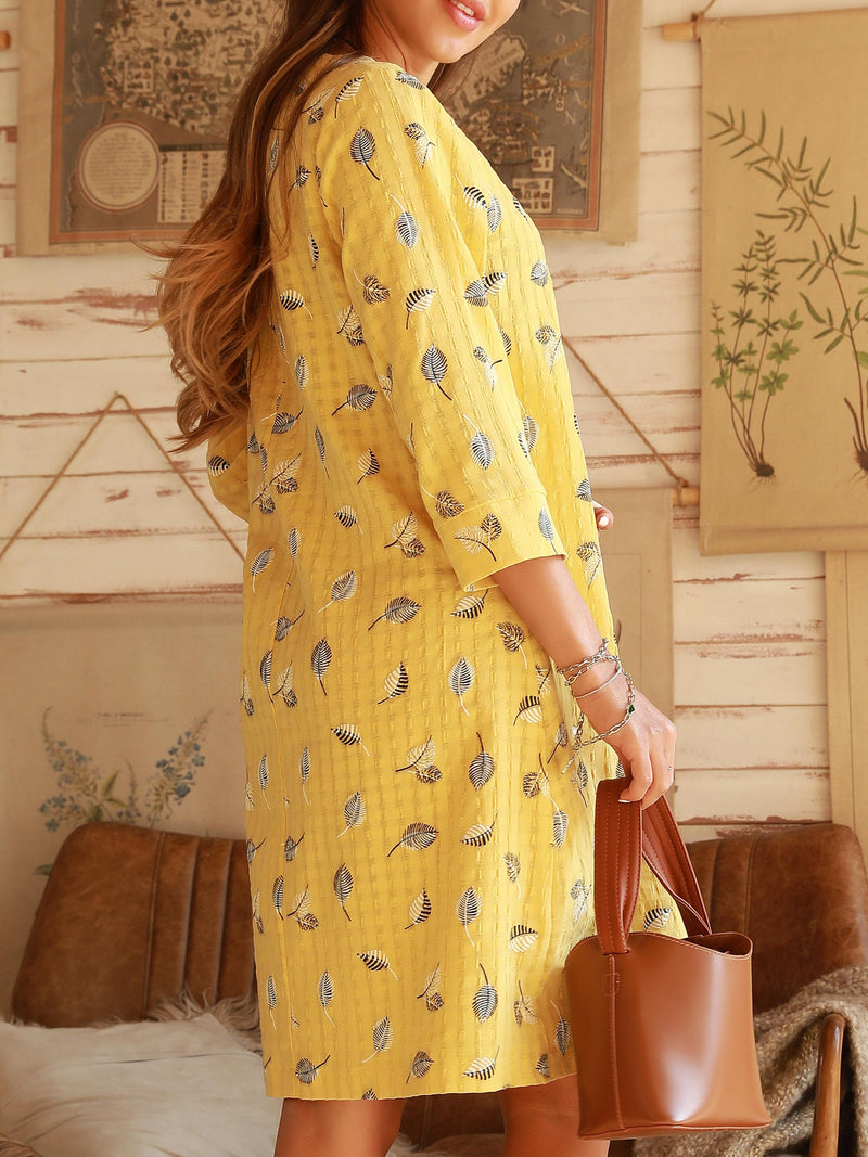 Yellow V Neck Shift Vintage Dresses